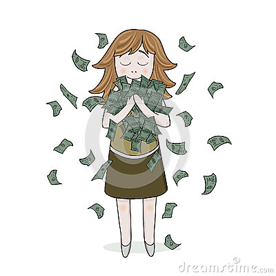 Isolated smiling girl with money