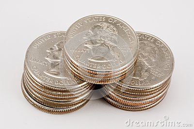 Isolated stacks of quarters