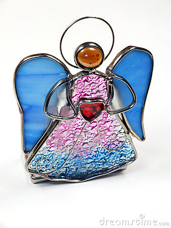 Isolated stained glass angel
