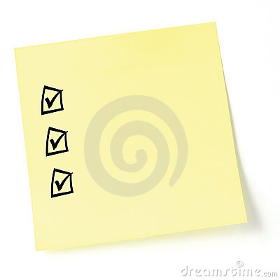 Isolated Sticky Note Listing Black tick-boxes