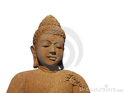 Isolated Stone Buddha with Warm Color