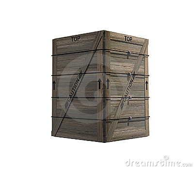 Isolated Strapped Wooden Crate