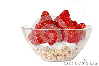 Isolated strawberries and muesli