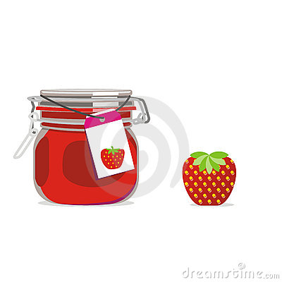 Isolated strawberry jam jar and fruit