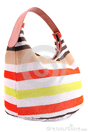 Isolated striped women bag
