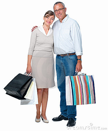 Isolated successful couple carrying shopping