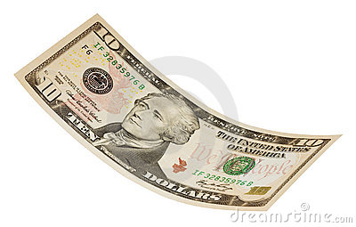 Isolated Ten Dollar Bill