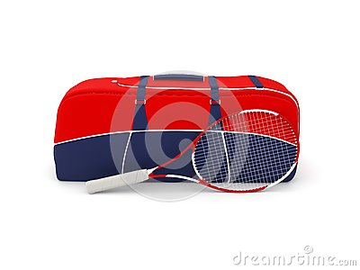Isolated tennis bag and racquet