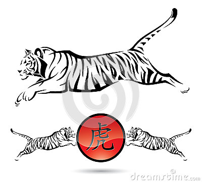 Isolated tiger signs