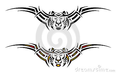 Isolated tiger tribal tattoo