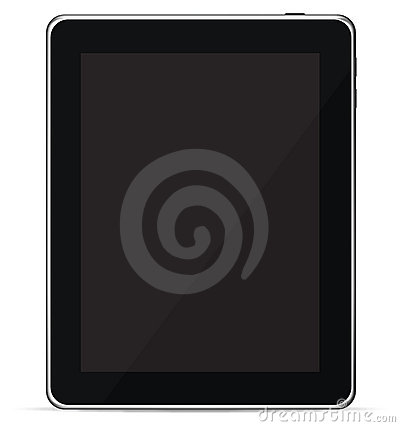Isolated Touch Screen Tablet PC eReader (Vector)