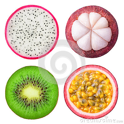 Free Isolated Tropical Fruits Slices Royalty Free Stock Images - 87108459