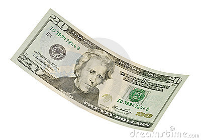 Isolated Twenty Dollar Bill
