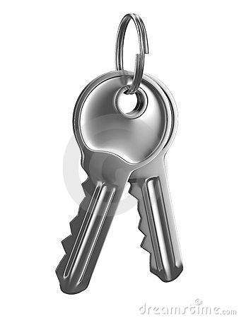 Isolated two keys on white background