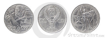 Isolated two USSR coins