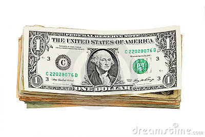 Isolated US dollar bill stack
