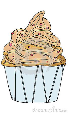 Isolated Vector Illustration of a Chocolate Vanilla Cream Berry Cupcake