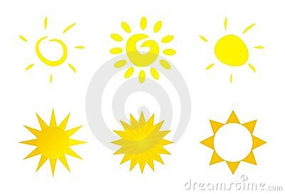 Isolated vector sun icon logo or clip art