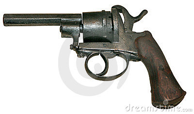 Isolated vintage firearm revolver