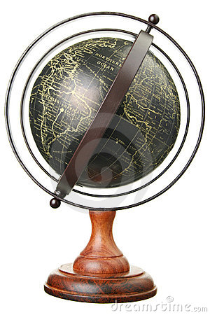 Isolated vintage globe