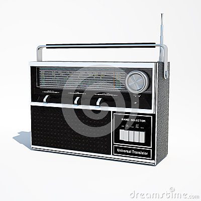 Isolated vintage world band radio 3d illustration