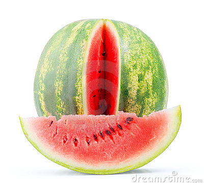 Isolated water melon whole and slice