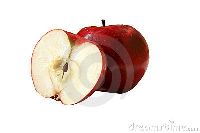 Isolated wet apples