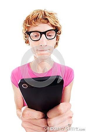Funny guy using smart phone