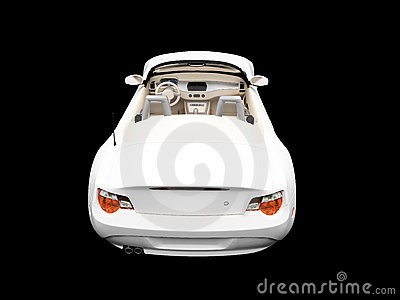 Isolated white car back view
