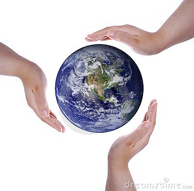 Isolated white hands and Earth