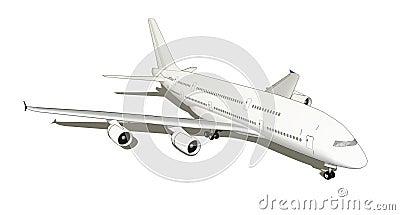Isolated white jumbo jet