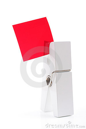 Isolated white peg holding red square