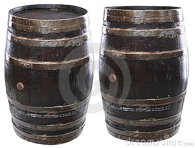 Isolated wine barrels