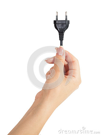 Isolated woman hand holding a cable with European plug