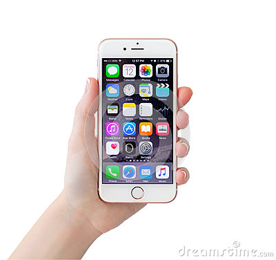 Free Isolated Woman Hand Holding IPhone 6S Rose Gold Stock Image - 62342591
