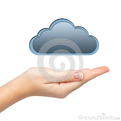 Isolated woman s hand holding a cloud