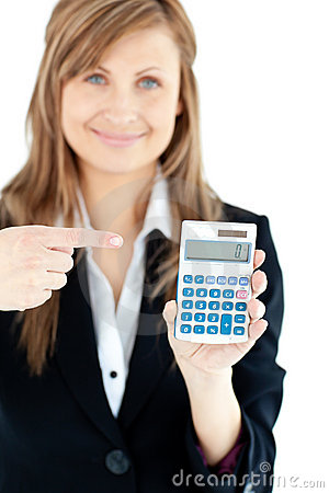 Isolated woman showing at a calculator