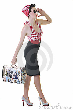 Isolated woman with travel bag