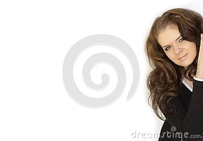 Isolated woman in white background