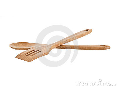 Isolated Wooden Kitchen Utensils