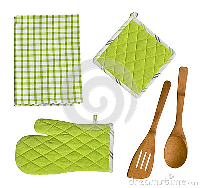 Free Isolated Wooden Kitchen Utensils, Glove, Potholder And Towel Stock Photo - 50650250