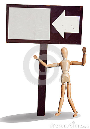 Isolated wooden puppet invite with wood sign