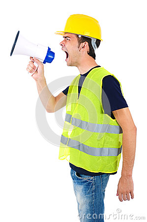 Free Isolated Worker With Helmet Stock Photography - 26669812