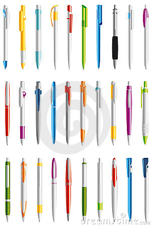 Free Isolated Writing Pen In Different Colors  Stock Photos - 4384793