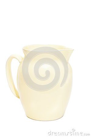 Isolated yellow crock with handle on white