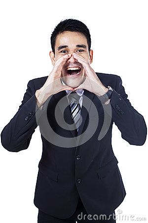 Isolated young businessman screaming