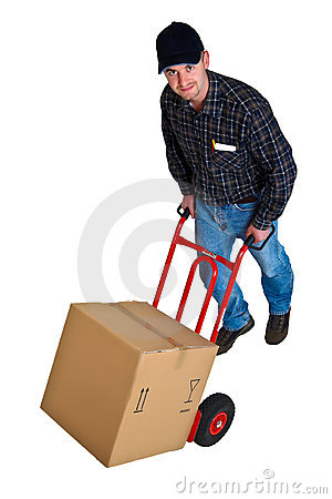 Isolated young delivery man with his hand truck 02