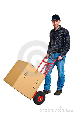 Free Isolated Young Delivery Man With His Hand Truck Stock Photography - 5551702