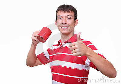 Isolated young man with red coffee cup