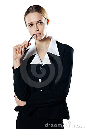 Isolated young puzzled business woman with a pen